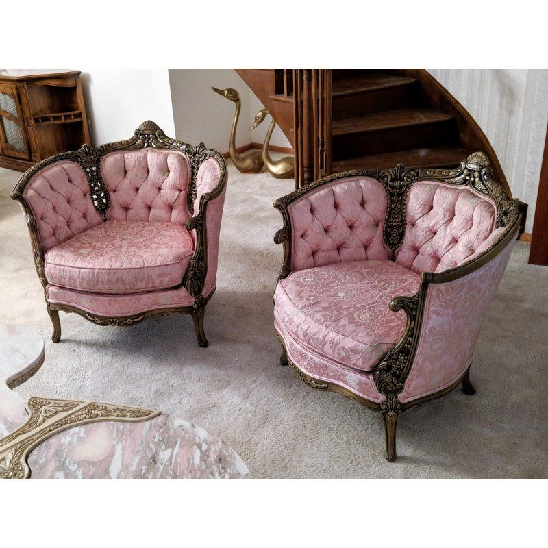 Excellent French Provincial Tufted And Hand Carved Pink Damask Accent Uwap Interior Chair Design Uwaporg