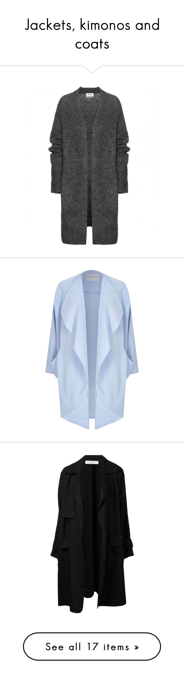 """""""Jackets, kimonos and coats"""" by dymova ❤ liked on Polyvore featuring tops, cardigans, jackets, outerwear, neuletakit, grey, grey cardigan, gray wool cardigan, acne studios and grey top"""