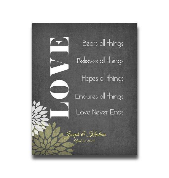 1 Corinthians 13 Wedding Invitations: Love Never Fails Personalized Art Print Names Wedding Gift