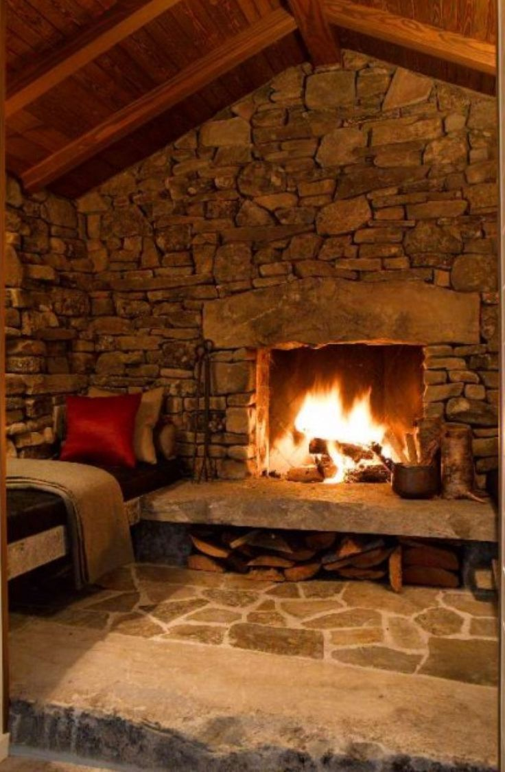 And I think I may know someone who can make concrete blenches to match the stone  fireplace!
