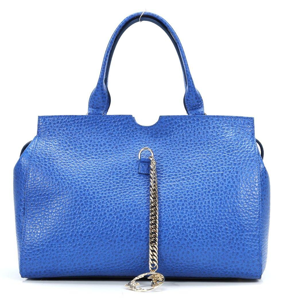 Versace Collection, Handtasche Leder blau 40 cm