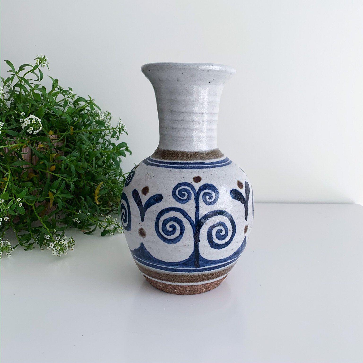 Vintage Stoneware Vase With Handpainted Design Handmade Art Pottery Ceramic Vase Mid Century Scandinavian Pottery Art Stoneware Vase Scandinavian Ceramic