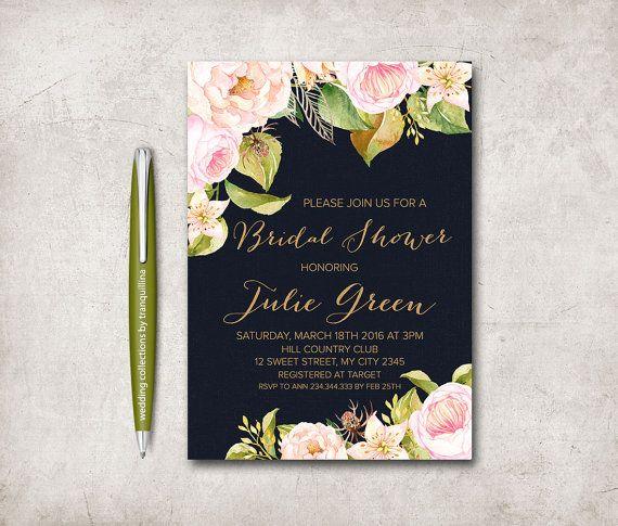 Navy Gold Bridal Shower Invitation Printable by tranquillina