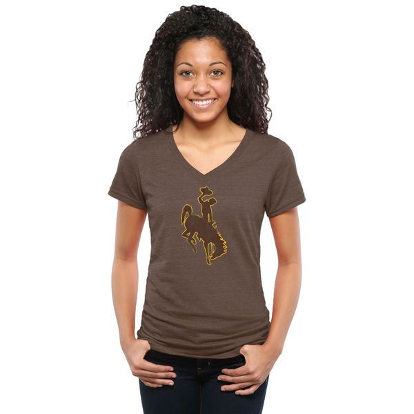Wyoming Cowboys Women's Classic Primary Tri-Blend V-Neck T-Shirt - Brown - $24.99