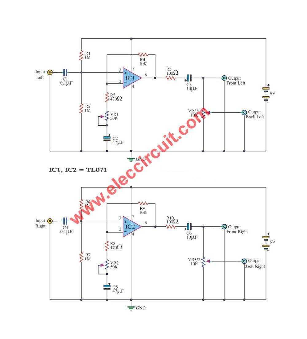 2 To 4 Channel Audio Converter Using Tl071 Eleccircuitcom Power 250 Watt Rms 4channel Car Amplifier Amp Wire Kit Savings