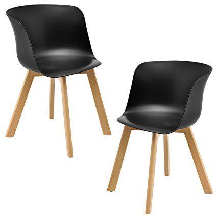 encasa® 2 x Design Esszimmerstuhl schwarz - stabil / modern für