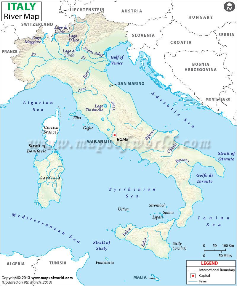 Map of #rivers that flow in #Italy and the tributaries made by them ...