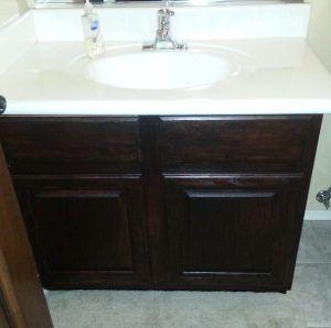 Java Gel Stain Over Builder Grade Honey Oak Bathroom Vanity Cabinet. You  Can See A