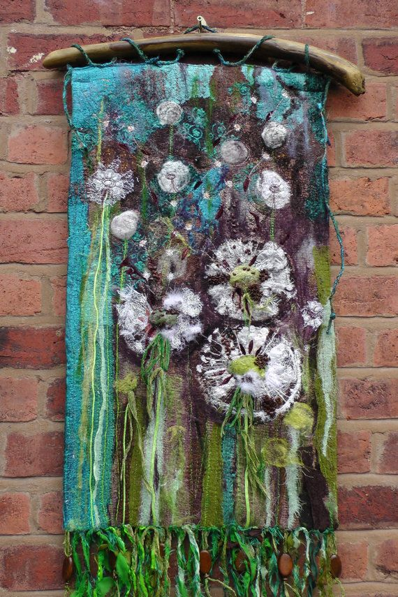 Textile Wall Art dandelions. textile wall hanging. fibre art. seeds. turquoise