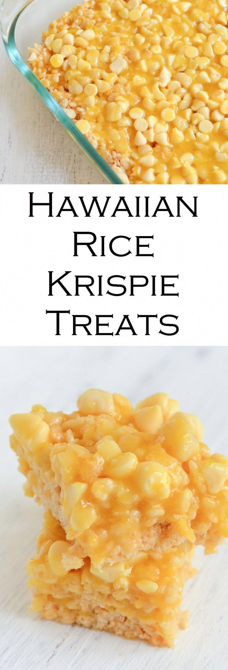 Tropical Rice Krispie Treats. These mango Hawaiian rice krispie treats are filled with white chocolate macadamia nut flavors and topped with a fresh mango glaze. A tropical dessert everyone will love! #hawiiancake
