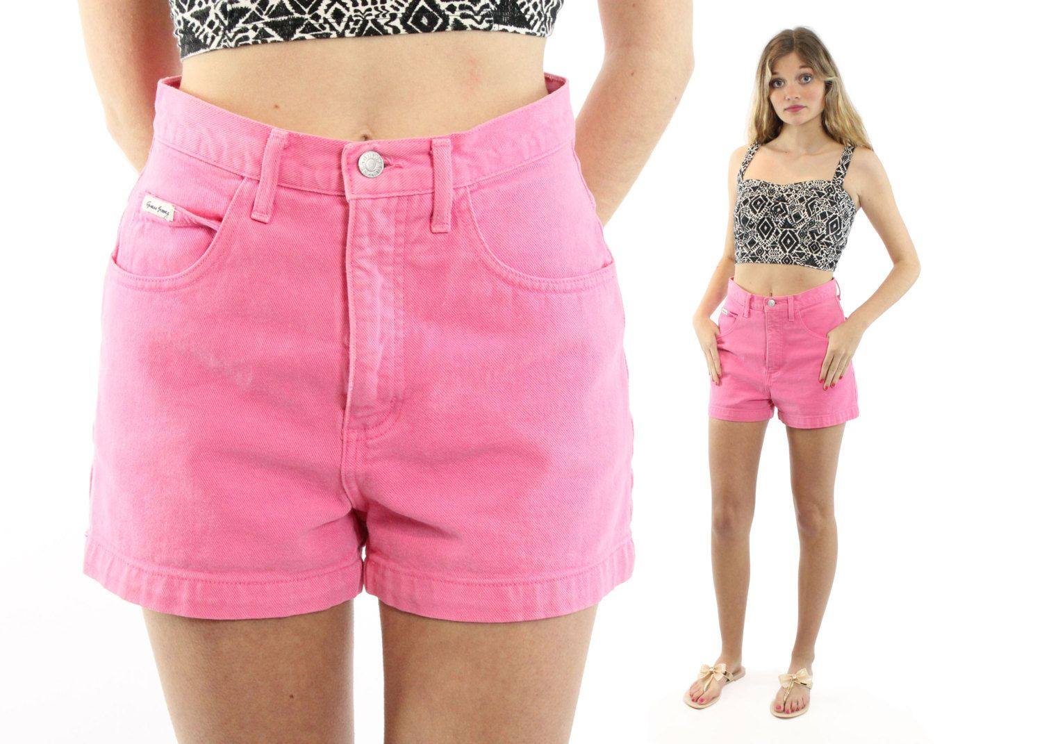 GUESS 90s Floral Skinny Shorts Petite Bottoms  Vintage Hawaii Theme Holidays Resort Travel Yacht Shorts W 30 Small Semi