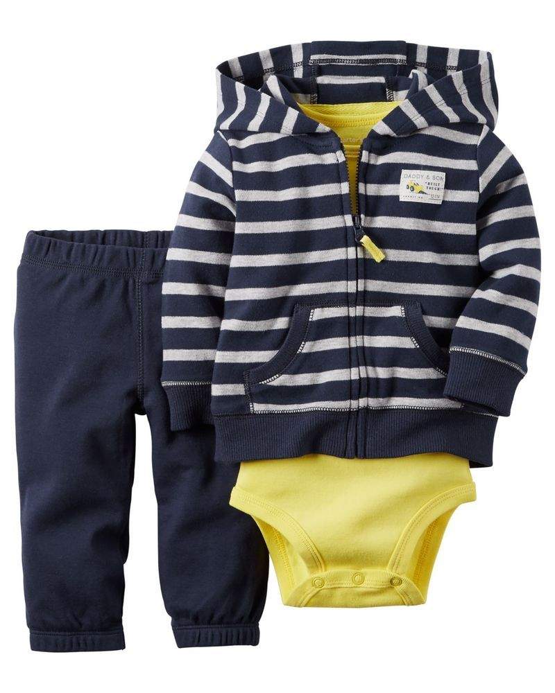 db130d65aa3c Baby boy Carter s 3pc Hoodie Set Size 3 -9 -12-18 Months Navy Blue ...