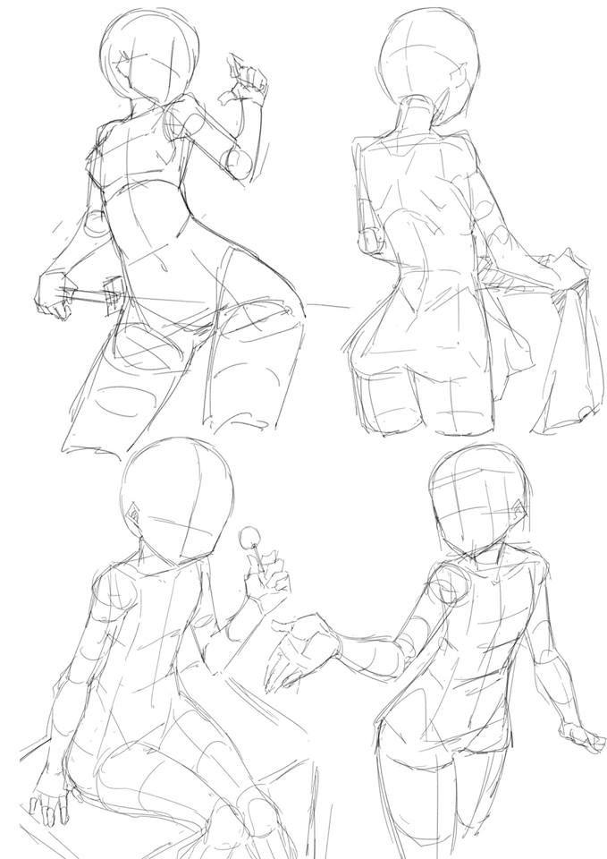 Female Anime Poses : female, anime, poses, Samia, Selene, References, Tutoriais, Pintura, Digital,, Desenho, Poses,, Desenhando, Esboços