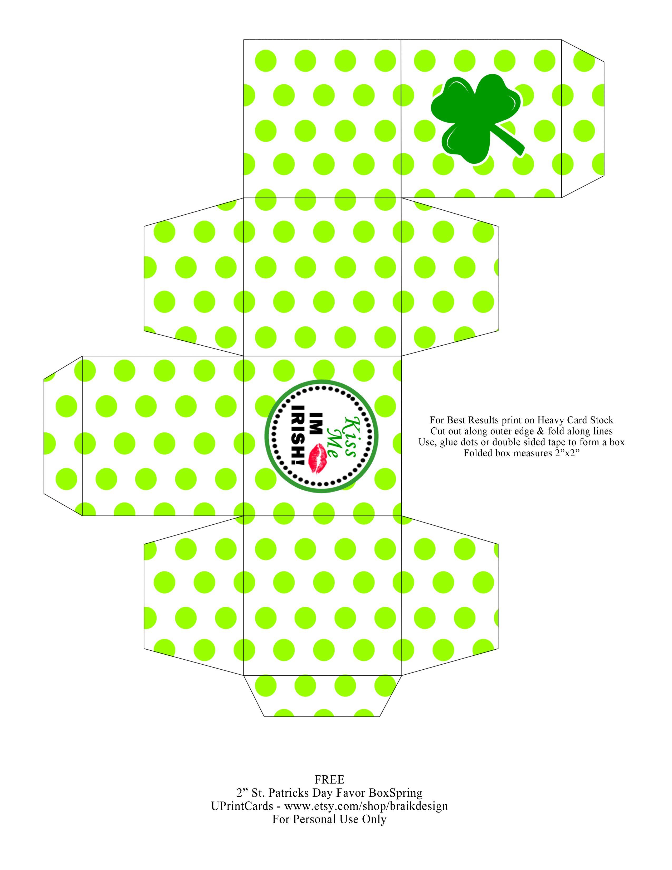 Free Diy Printable St Patrick S Day Favor Box Happy St Paddys Day St Patricks Crafts Treat Box Template
