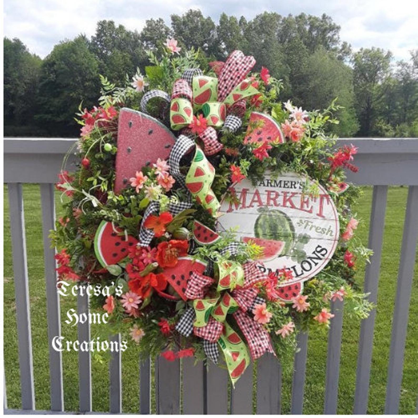 Photo of Large Summer Wreath, Watermelon Wreath, Farmhouse Wreaths, Summer Wreaths, Watermelon Decor, Front Door Wreath, Farmhouse Mesh Wreath