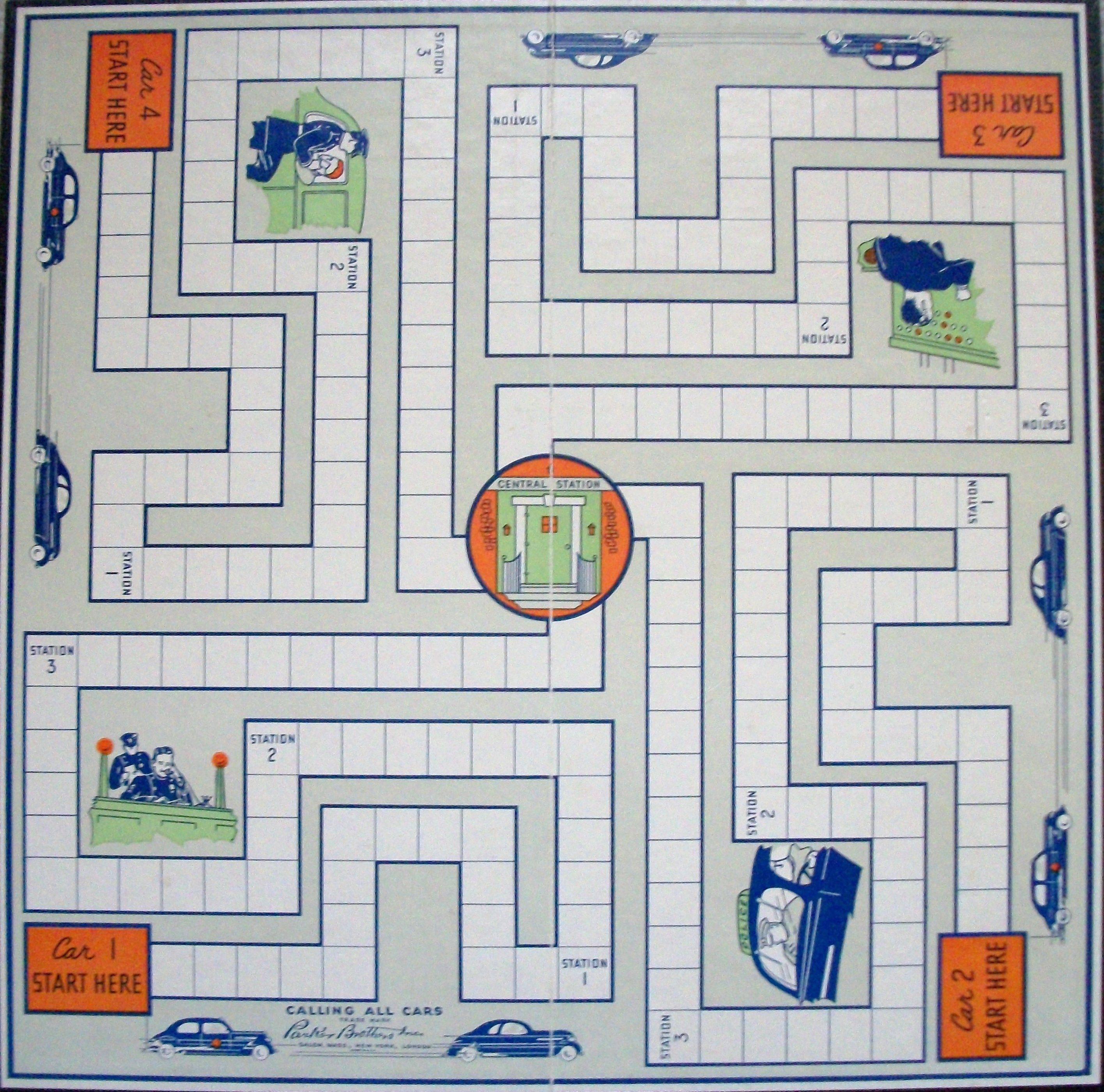 Game board colors - Vintage Parker Brothers Game Board Calling All Cars