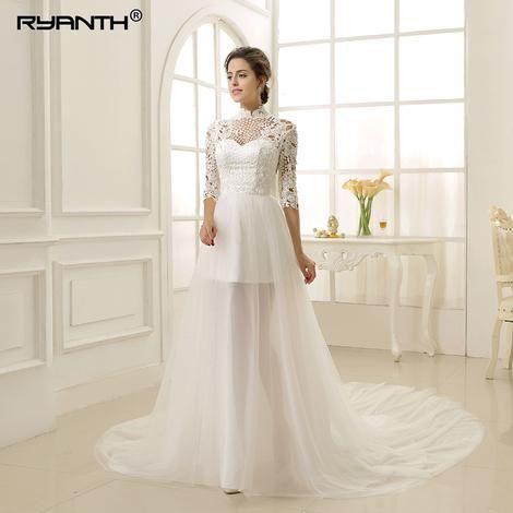 Vestido de noiva 2 En 1 Wedding Dress 2019 Luxury 3 4 Long Sleeves Lace 74eb86e8dff5