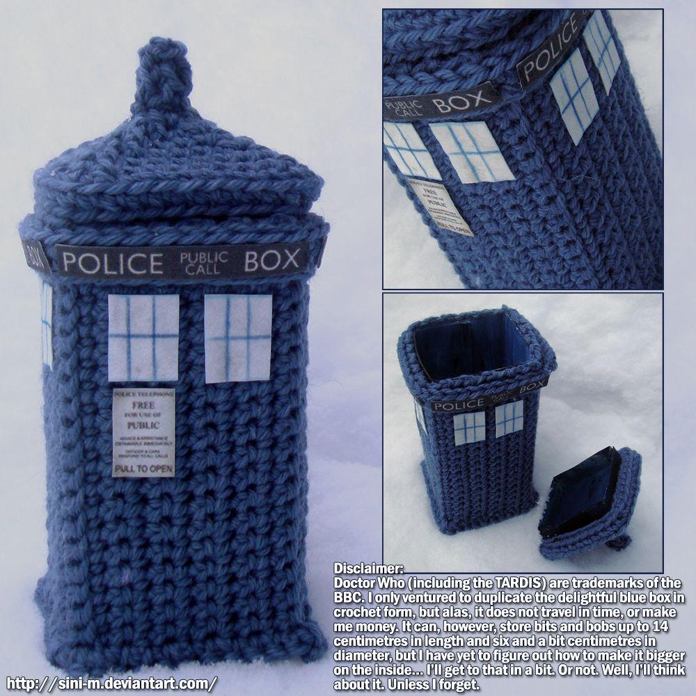 Knitting Pattern For Dalek Hat : Crocheted Tardis Box...Im gonna Make this most definitely ...