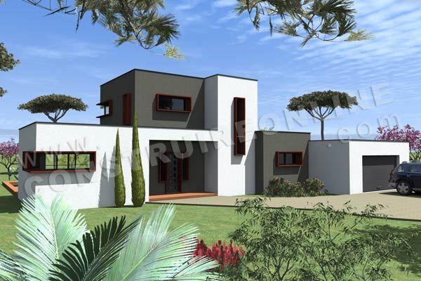 Plan de maison etage contemporaine TRAMONTANA vue garage À acheter