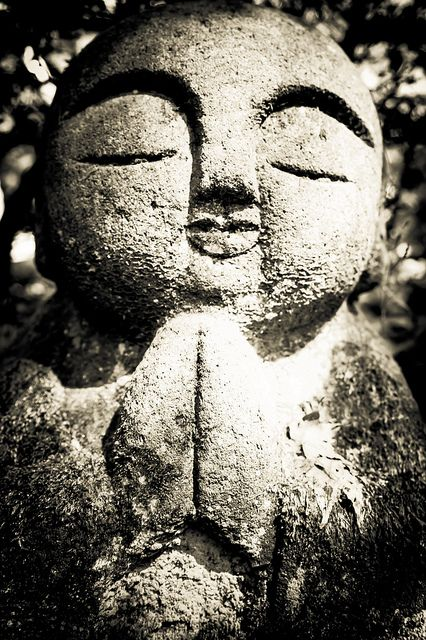 Stone Jizo statue at Nembutsu-ji temple, Kyoto, Japan