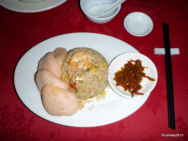 Seafood Fried Rice with Prawn Crackers and Anchovies