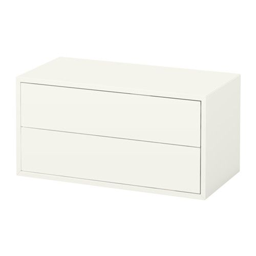 EKET Cabinet With 2 Drawers, White White $85. 2 Fit Perfectly In Dormer.  Maybe Base For Bench Seat