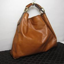 9df2caa72cc467 GUCCI Leather Extra Large HORSEBIT Chain Hobo Bag Purse Handbag Caramel GG