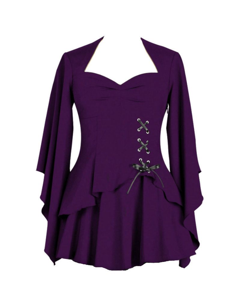 085faf4728b43 Famous Plus Size Model. Rich Purple Gothic Layered Blouse With Black Corset  Ribbon Tie Gothic Club Purple Corset