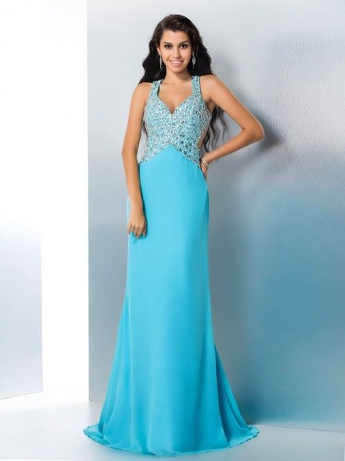 da8ea3f65221 A-Line/Princess Straps Beading Sleeveless Long Chiffon Dresses - Hebeos - An  elegant long lace prom dress featuring a sleeveless halter bodice adorned  with ...