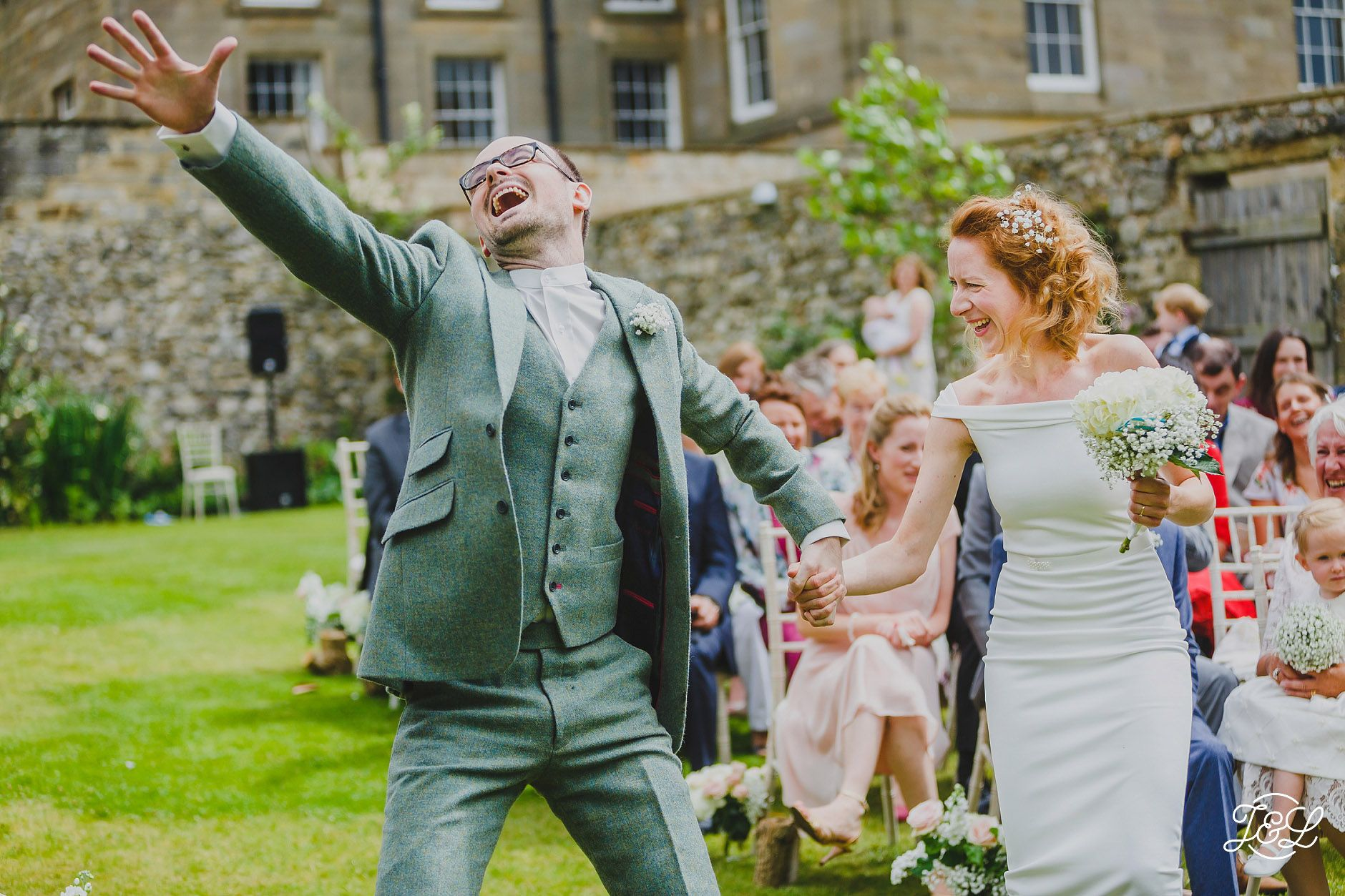 Yorkshire outdoor humanist wedding in Settle. Bride and ...