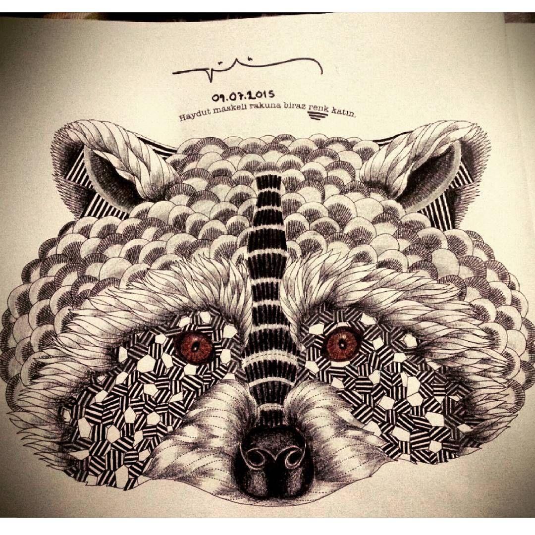 Millie Marotta Animal Kingdom Racoon in black and white | Animal ...