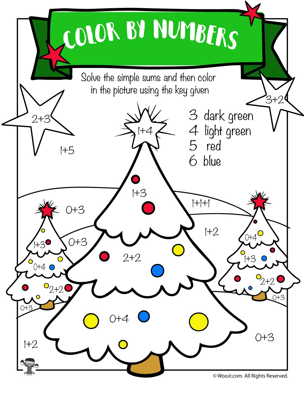 Christmas Tree Math Addition Worksheet Woo Jr Kids Activities Christmas Math Worksheets Math Coloring Worksheets Christmas Worksheets