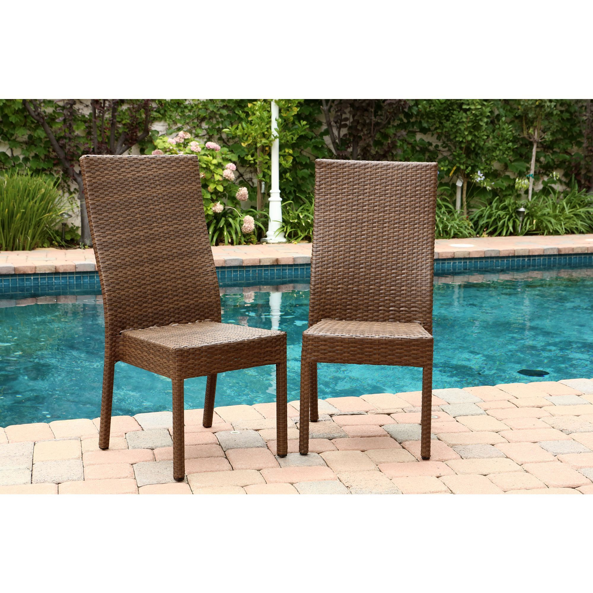 Abbyson Living Palermo Outdoor Brown Wicker Dining Chairs Set of
