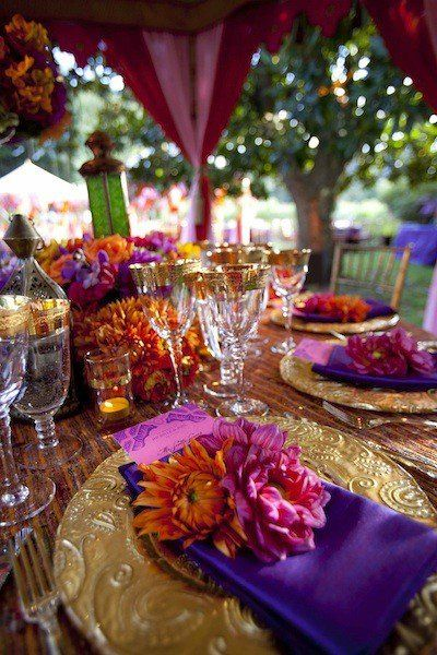 coffeepearlsandpoetry. Wedding Reception TablesWedding Table SettingsReception ... & Moroccan inspired table setting. Jewel tones that turn up the heat ...