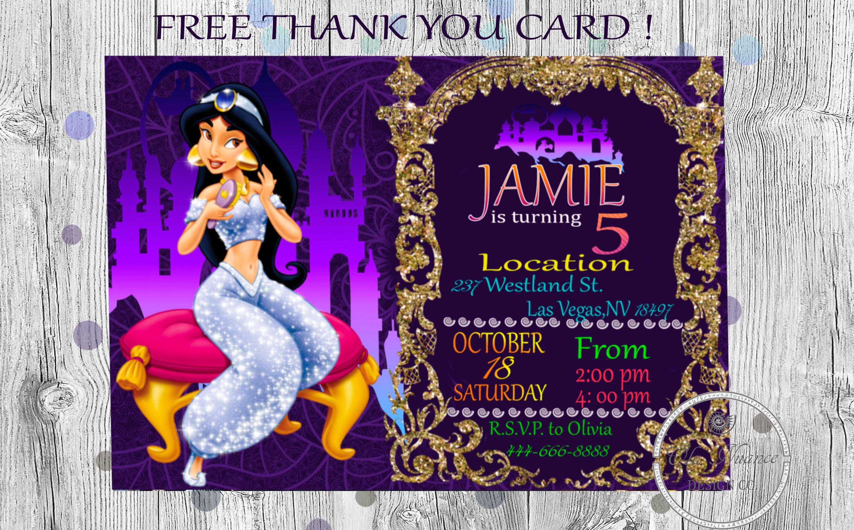 Princess Jasmine Invitation Disney Jasmine Invite Princess Jasmine