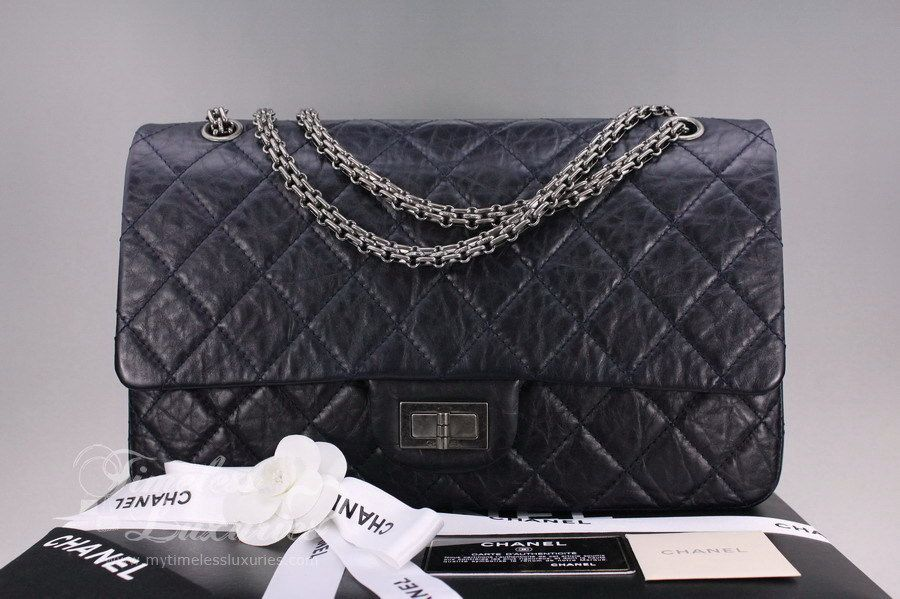 2e0d8b95340e I think this is the most beautiful Chanel bag. I love it. Timeless Luxuries  - CHANEL Navy Aged Calf 2.55 Reissue Flap 227 Ruthenium Hw