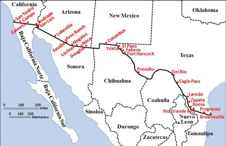 Free Zone Media Center News THE BORDER A VIDEO Border Battle - Us mexico border crossings map