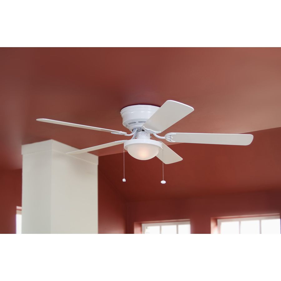 Shop harbor breeze armitage 52 in white flush mount ceiling fan with shop harbor breeze armitage 52 in white flush mount ceiling fan with light kit at aloadofball Images