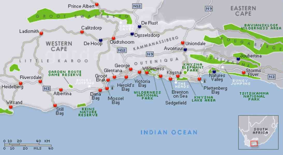 Detailed Map Of The Garden Route South Africa cool Map Of The Garden Route | South africa holidays, Visit south