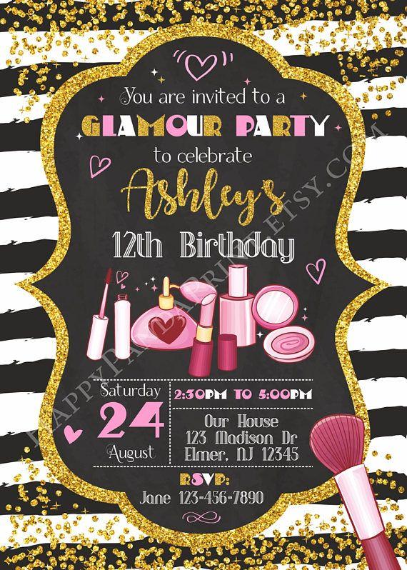 Glamour Birthday Invitation Glamour Invitation Girl