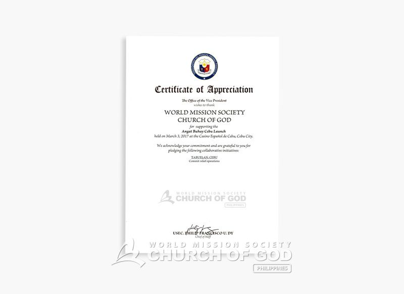 certificate appreciation vice-president Philippines WMSCOG NEWS - certificate of appreciation