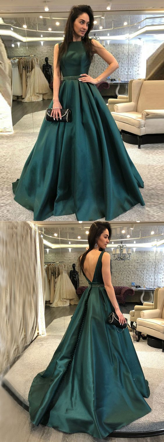 Aline bateau backless sweep train dark green prom dress with