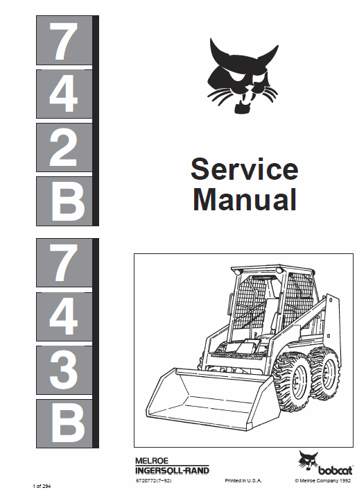 Bobcat 742b And 743b Skid Steer Loader Service Manual Skid Steer Loader Bobcat Manual