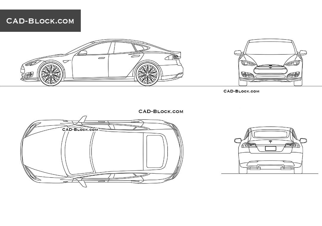 Pin by cad block on vehicles pinterest autocad premium autocad blocks of a tesla car in complete views side front plan and rear view these blocks was saved in autocad 2000 format malvernweather Gallery