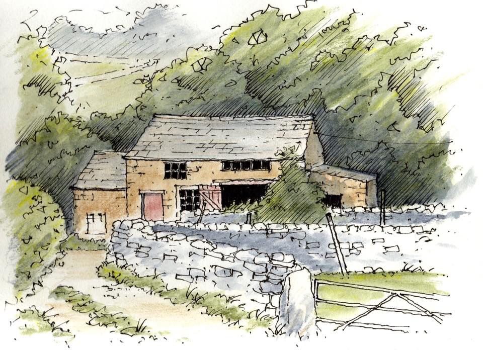 Barn at Kettlewell in the Yorkshire Dales ~ sketch ~ John Edwards