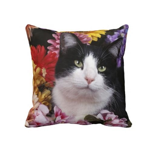 Black and White Cat on Flowers Throw Pillow