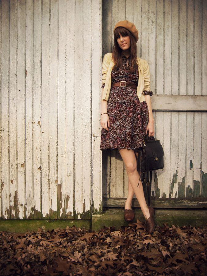 floral dress, belt, cardigan, oxfords