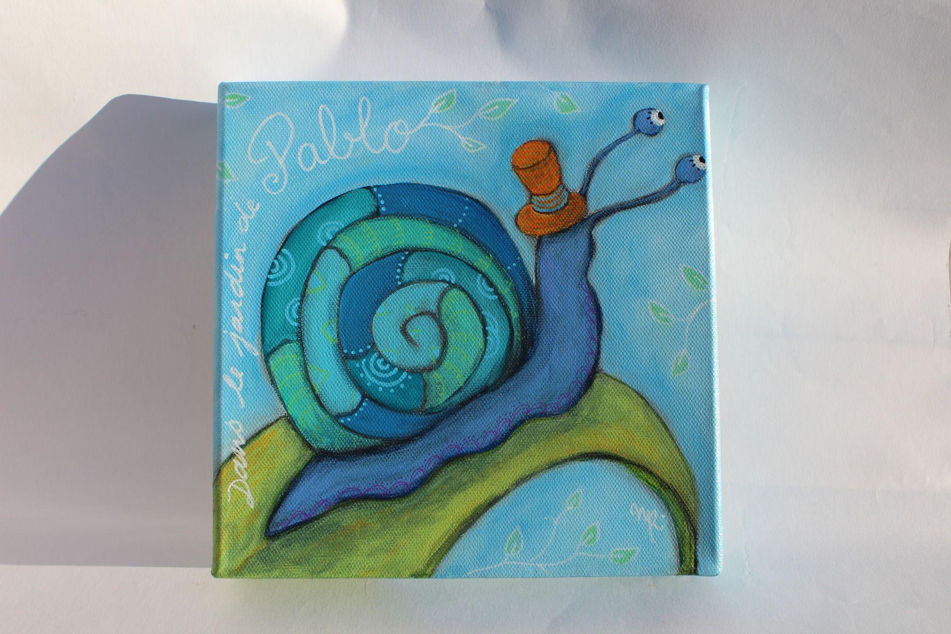 RESERVE PABLO Escargot avec un chapeau dans le jardin tableau