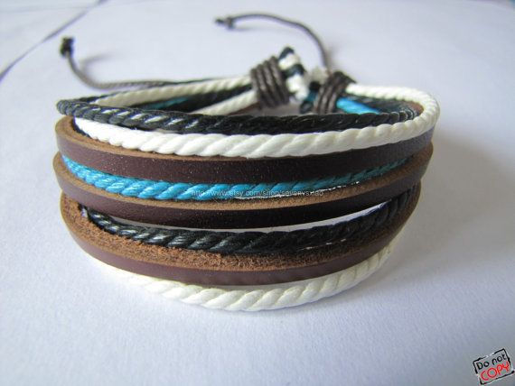 Real Leather and Multicolour Hemp Rope Cuff Bracelets Adjustable Leather Bracelet/ Multicolour Bracelet 441S