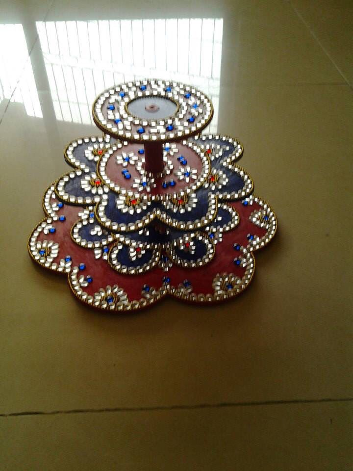 Acrylic diya stand gift trays pinterest acrylics for Decoration with waste
